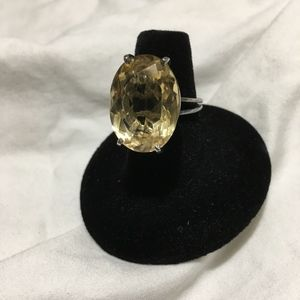 Jewelry - Large Citrine looking Costume Silver Ring.  Size 6